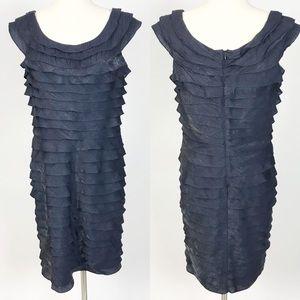 Adrianna Papell Tiered Navy Dress Sleeveless sz 14